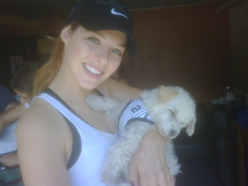 the team mascot, her cute pup!